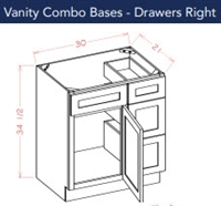 VANITY BASE 30 WITH DRAWERS ON RIGHT