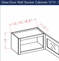 Shaker White Wall Stacker Cabinet 1212 Glass Door