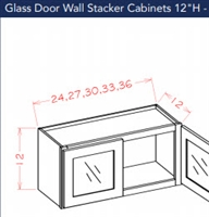 Shaker White Wall Stacker Cabinet 2412 Glass Door